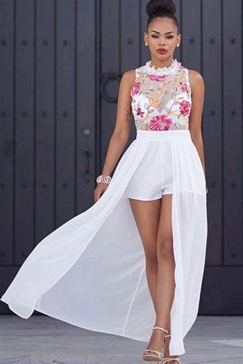 white sleeveless floral embroidery sheer mesh chiffon