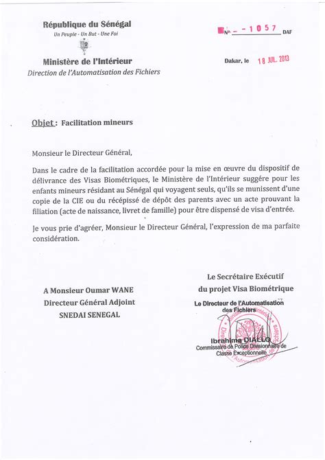 Lettre De Mission Visa Modele Lettre De Procuration Retrait Passeport Document
