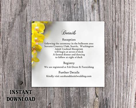 florist enclosure card template diy wedding details card template editable word file