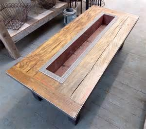 reclaimed barn wood coffee table with custom planter box