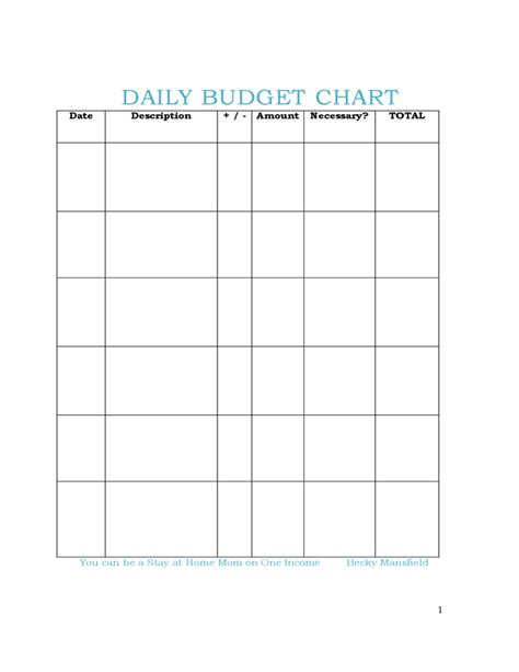 Daily Budget Chart Free Download Daily Spending Log Template