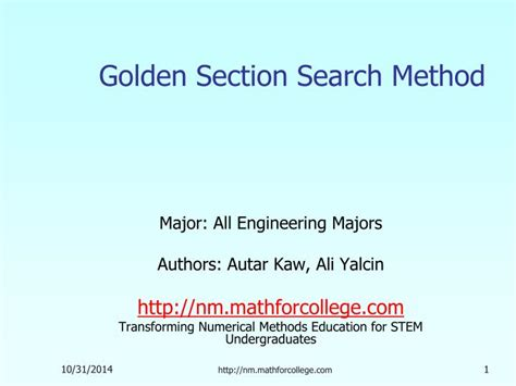 golden section search ppt golden section search method powerpoint presentation