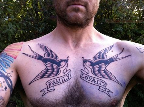 mens swallow tattoo designs family loyalty tattoos on chest