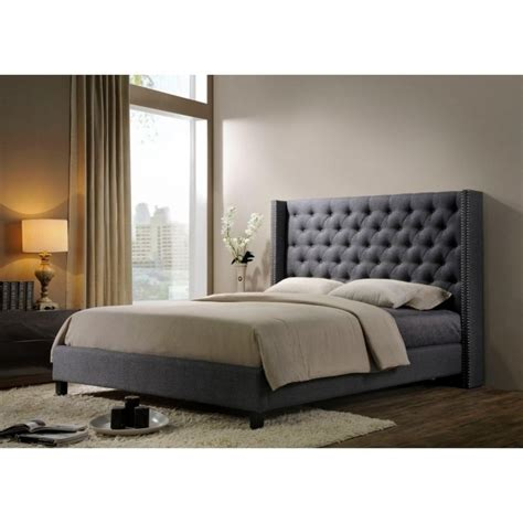 king size upholstered platform bed grey upholstered platform bed altos home pacifica fabric