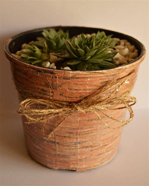 Wooden Plant Pot recycled craft faux wooden flower pot cheap eats and