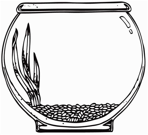 fishbowl template image for aquarium coloring page printables