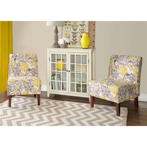 lily home decor linon home decor lily gray and yellow polyester side chair