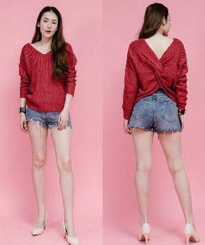 Atasan Wanita Warna Merah baju atasan wanita blouse bahan rajut lengan panjang