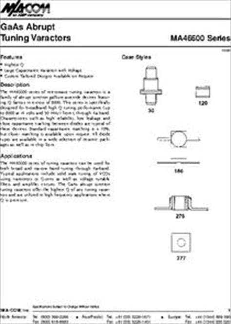 varactor diode gamma ma46602 30 datasheet gaas high q abrupt junction tuning varactor diode