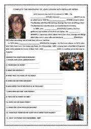 john lennon biography worksheet english worksheets john lennon short biography