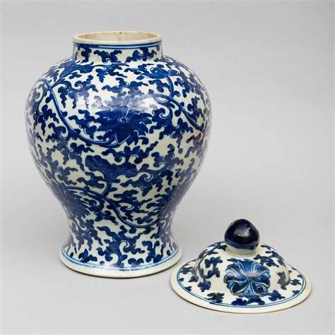 Vases With Lids For Sale Porcelain Blue And White Baluster Vase And Lid For
