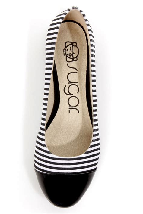 black and white flats shoes sugar atlas black and white cap toe ballet flats 8