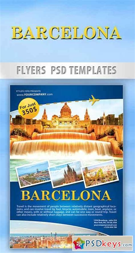 travel template psd barcelona travel flyer psd template cover
