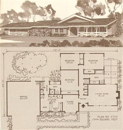 1950s house plans ranch house plans 1950s 1960s ranch home house plans