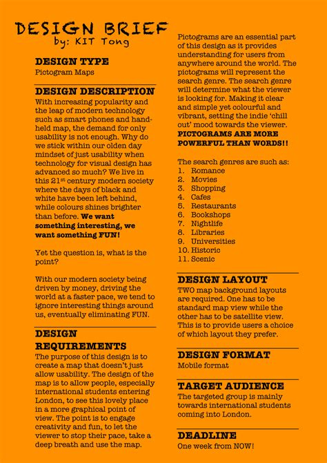 design brief layout exle design brief kit tong