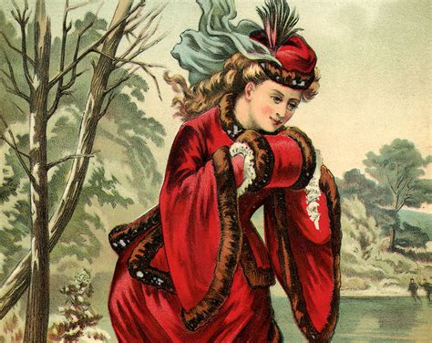stunning victorian winter lady image  graphics fairy
