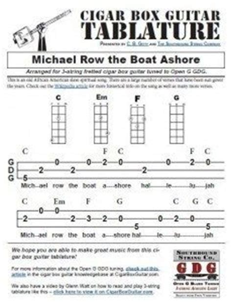 michael row the boat guitar chords spirituals tab the how to repository for the cigar box