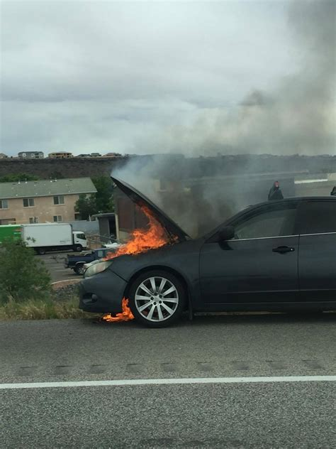 subaru fire vehicle fire on interstate 15 destroys car disrupts