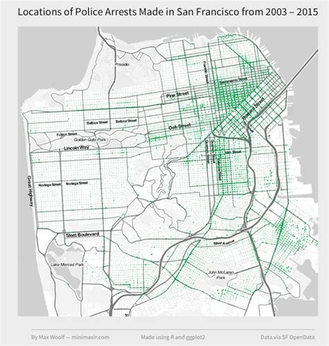 san francisco crime map 2015 mapping where arrests frequently occur in san francisco
