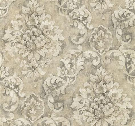 wallpaper by the yard antiqued distressed charcoal scrolling damask aged worn floral