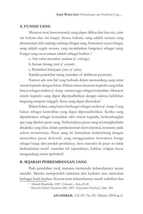 Teori Islam By Harvey Nasution perkembangan dan pemikiran uang dari masa ke masa