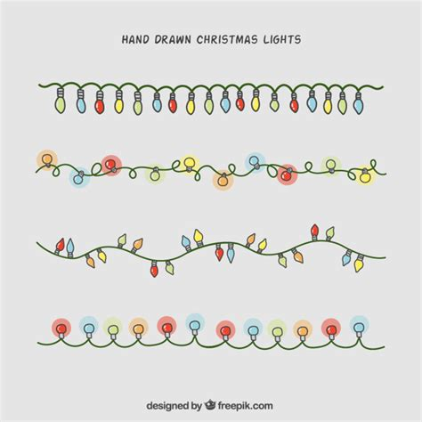 hand drawn christmas lights collection vector free download