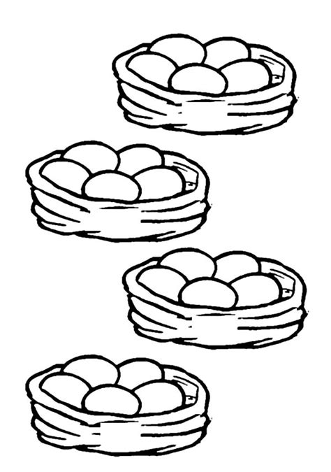 basket of eggs coloring page chicken egg netart