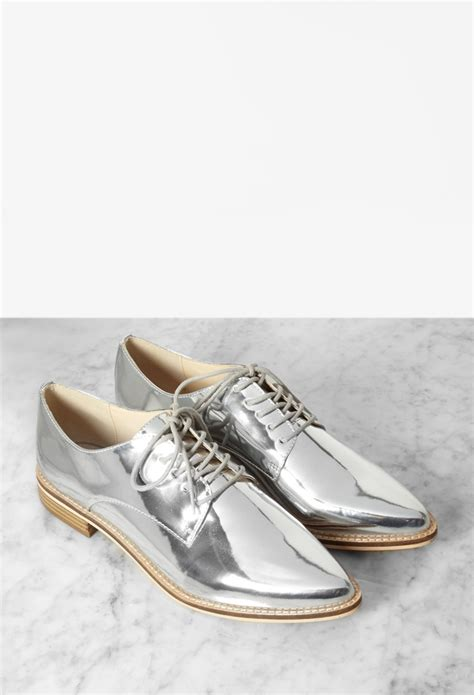 oxford shoes forever 21 forever 21 metallic faux leather oxfords in metallic lyst