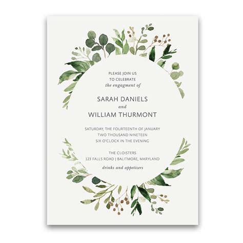 wedding engagement invitation bohemian wedding invitations boho chic greenery gold