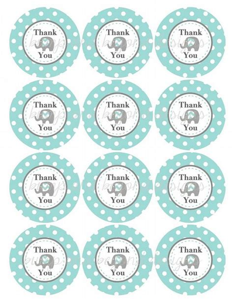printable thank you tags for baby shower printable elephant thank you tags boy bumpandbeyonddesigns