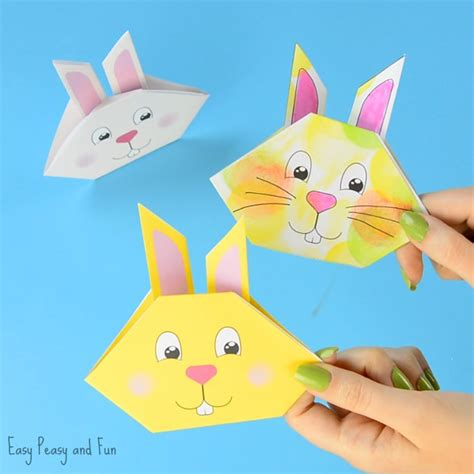 Origami Easter Bunny - origami bunny tutorial with printable template easy