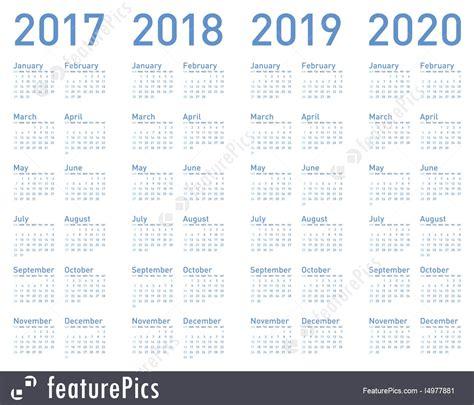 Calendar 2017 And 2018 And 2019 Calendars Simple Blue Calendar For Years 2017 2018 2019