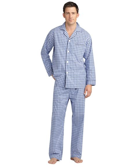 plaid pajamas brothers plaid pajamas in blue for lyst