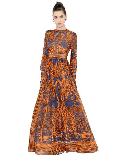valentino women s giraffe printed cotton muslin dress