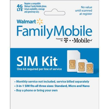 At T Microsim Card Starter Kit 4ff walmart family mobile 3 in 1 sim card starter kit by t