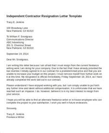template for resignation letter contractor resignation letter template 4 free word pdf