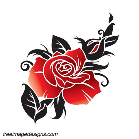 tattoo flower graphic black and red flower floral design download free image