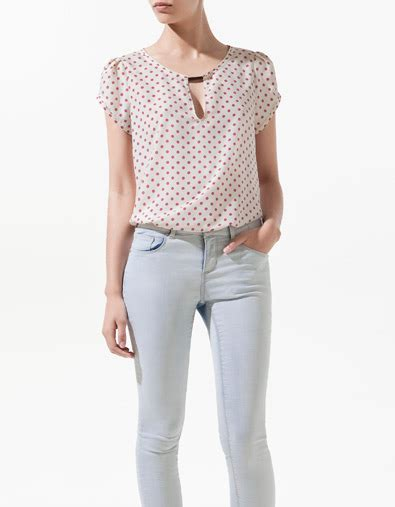 zara and products on pinterest top lunares aplique escote camisas mujer zara my