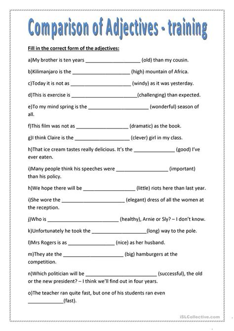 Adjectives That Compare Worksheets by 21 Free Esl Comparison Of Adjectives Worksheets