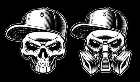 black  white graffiti skulls   vectors