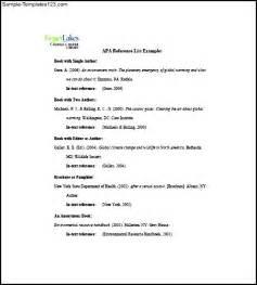 apa resume template sle apa reference list template sle templates