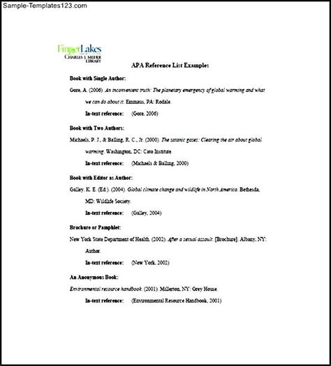 apa reference template sle apa reference list template sle templates