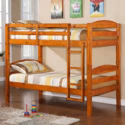 Kids bed solid walnut brown wood twin double bunk bed detode