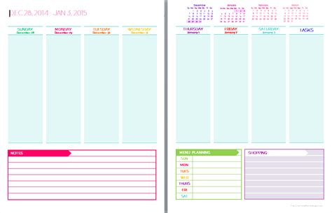 free download printable planner 2015 8 best images of 2015 weekly planner sheets printable
