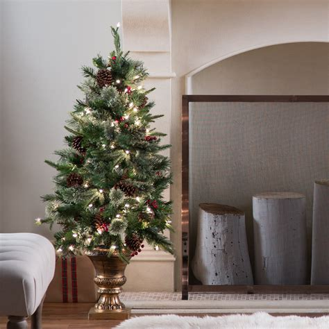 real potted christmas trees for sale asda 4 ft pre lit feel real colonial potted entryway tree trees at hayneedle