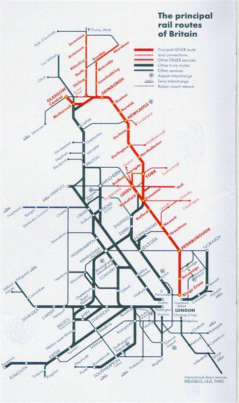 map uk rail lines principle routes of rail