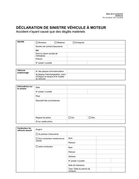 Modele Declaration Sinistre