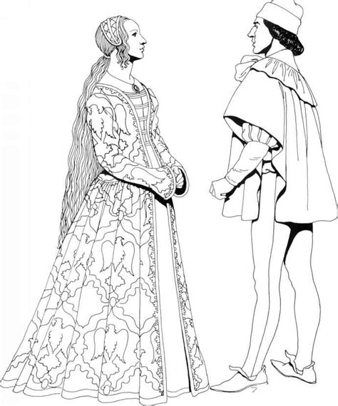 renaissance dress coloring page renaissance fashion renaissance fashions martel fashion
