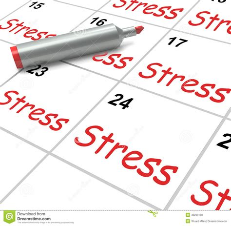 Calendar Meaning Stress Calendar Means Pressured Tense And Stock