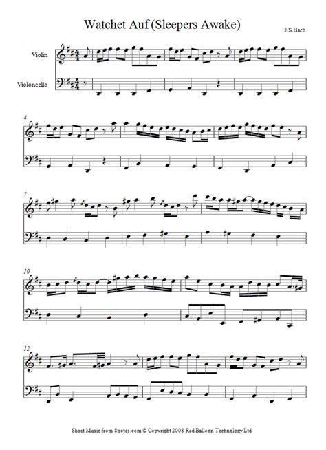 Bach Sleepers by Bach Watchet Auf Sleepers Awake Sheet For Violin